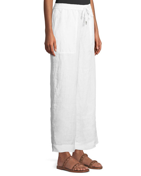 Organic Linen Drawstring-Waist Wide-Leg Pants, Plus Size