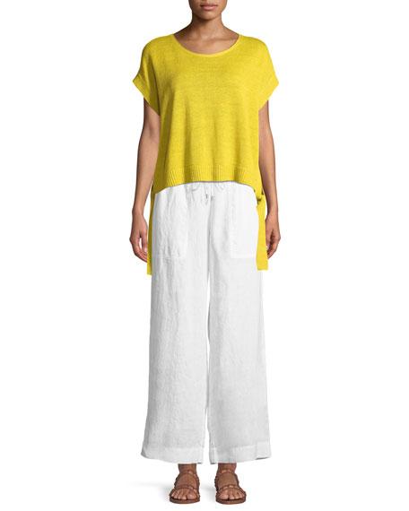 Organic Linen Drawstring-Waist Wide-Leg Pants, Petite