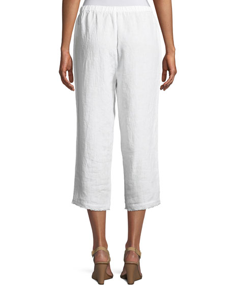 Organic Linen Straight Cropped Pants, Petite