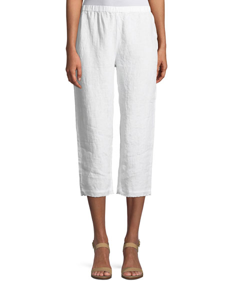 Organic Linen Straight Cropped Pants, Plus Size