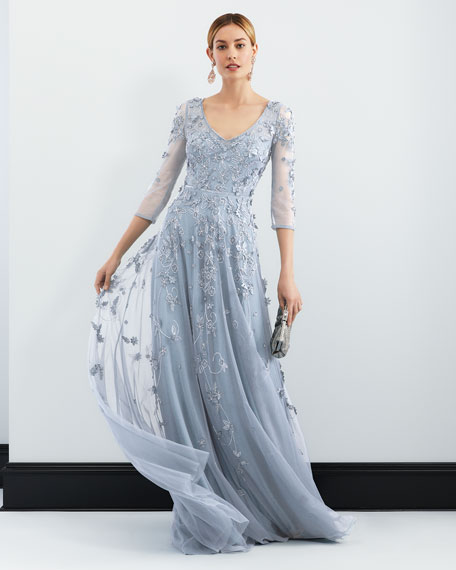 Floral Tulle Appliqué V-Neck Gown