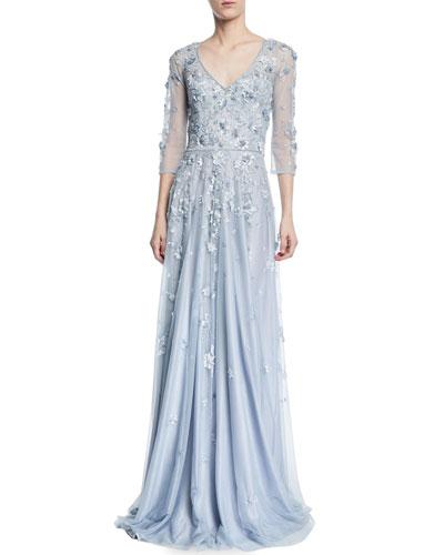 Floral Tulle Appliqué V-Neck Gown