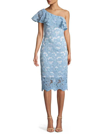 THEIA Flounce Ruffle One-Shoulder Dress W/ Circle Embroidery in Light Blue