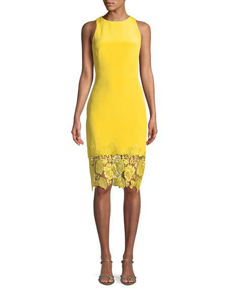 Theia Sleeveless Sheath Cocktail Dress w/ Lace Hem