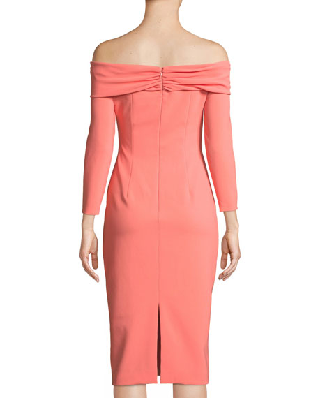 Crisscross Off-the-Shoulder 3/4-Sleeve Sheath Cocktail Dress
