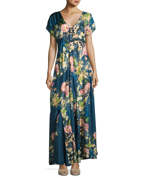 Johnny Was Timmie Short-Sleeve Floral-Print Maxi Dress, Petite