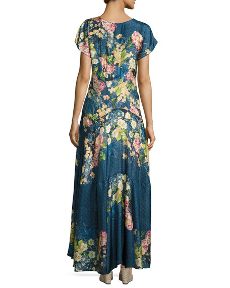 Timmie Short-Sleeve Floral-Print Maxi Dress, Plus Size