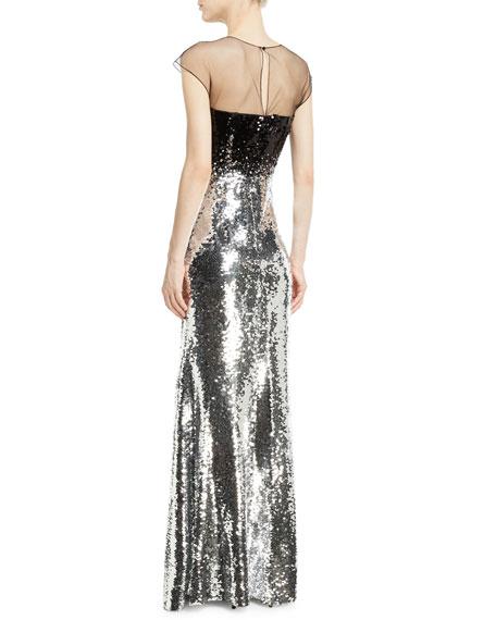 Dija Two-Tone Sequin Illusion Gown
