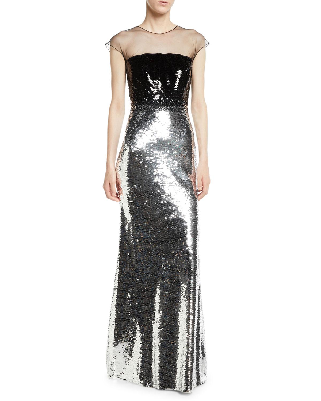 Sachin Babi Noir Dija Two Tone Sequin Illusion Gown Neiman Marcus
