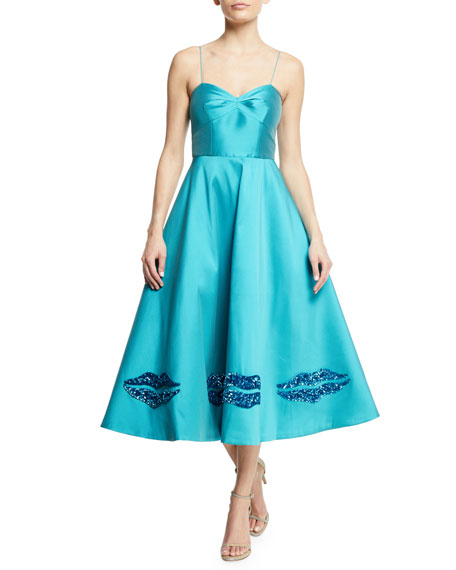 Byzantion Metallic Lips Tea-Length Dress