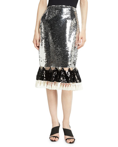 Avenue Sequin Skirt w/ Tassel Trim