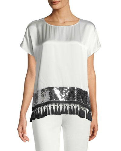 Kumpir Sequin & Tassel Silk Top