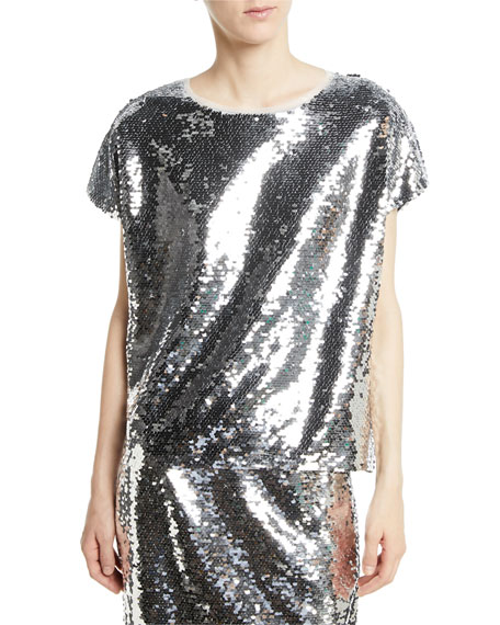 Sachin & Babi Noir Gozleme Short-Sleeve Sequin Top