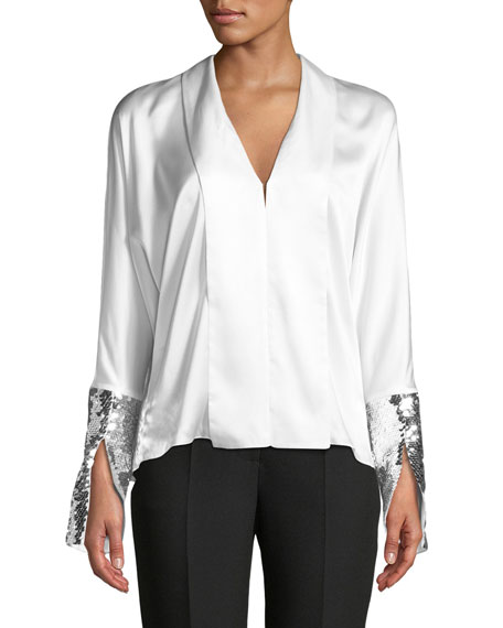 Valens Silk Top w/ Sequin Cuffs