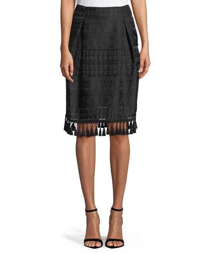 Beyoglu Tassel-Trim Stripe Skirt