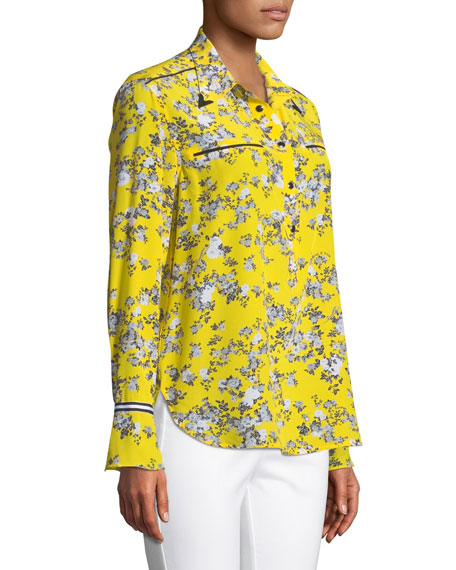 Martel Long-Sleeve Floral-Print Silk Shirt