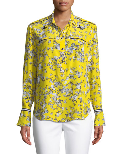 Martel Long-Sleeve Floral-Print Silk Shirt