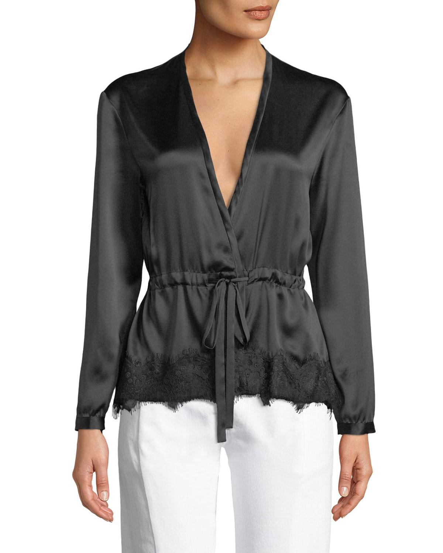 187b71b01864f Rag   Bone Tomlin V-Neck Long-Sleeve Satin Silk Shirt