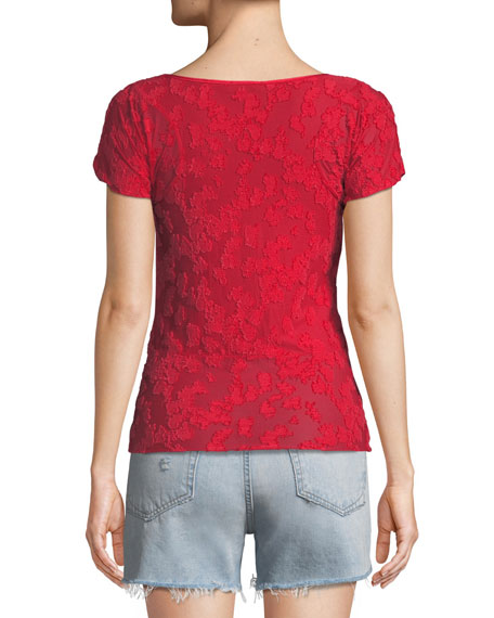 Lucie Short-Sleeve Burnout Top