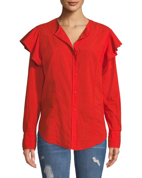 The Asley Poplin Ruffle Shirt
