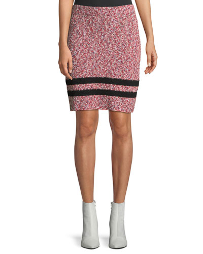 Halstead Marled Cotton Knit Skirt w/ Varsity Stripe