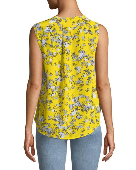 Victor Sleeveless Wrap-Front Garden Floral-Print Silk Blouse