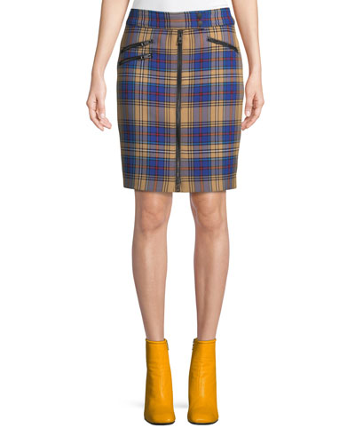 Griffin Zip-Front Plaid Pencil Skirt