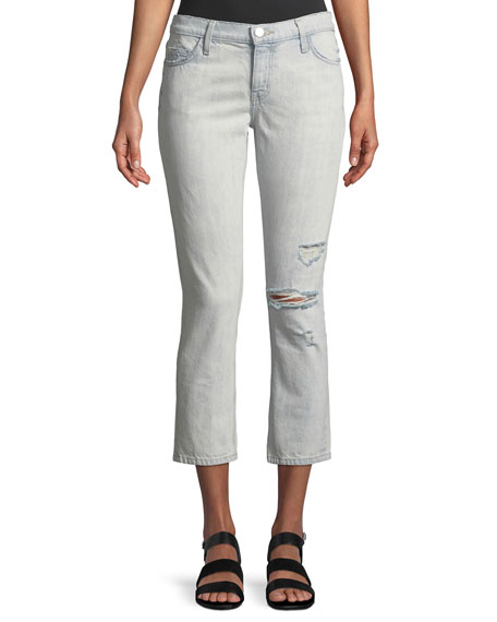 Current/Elliott Distressed Cropped Straight-Leg Jeans
