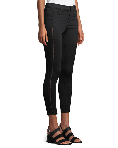 Alana High-Rise Cropped Super Skinny Jeans w/ Ladder Lace, Black