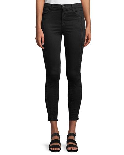 Alana High-Rise Cropped Super Skinny Jeans w/ Ladder Lace, Black