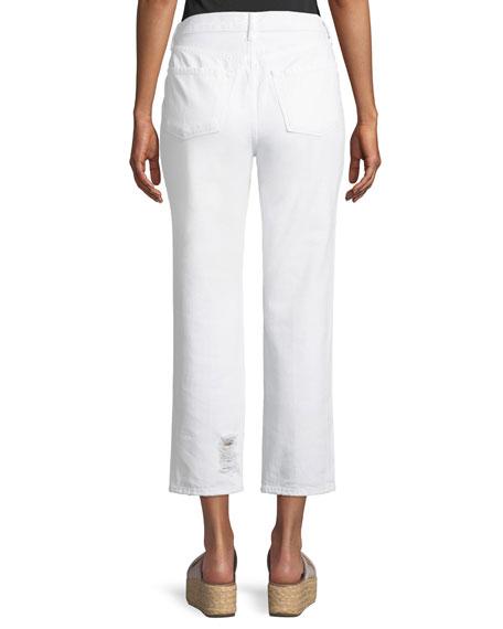 Wynne High-Rise Crop Straight-Leg Jeans, White Destruct