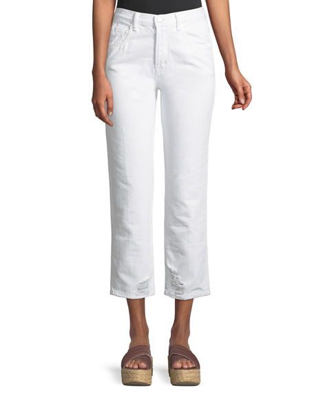 J Brand Wynne High-Rise Crop Straight-Leg Jeans, White