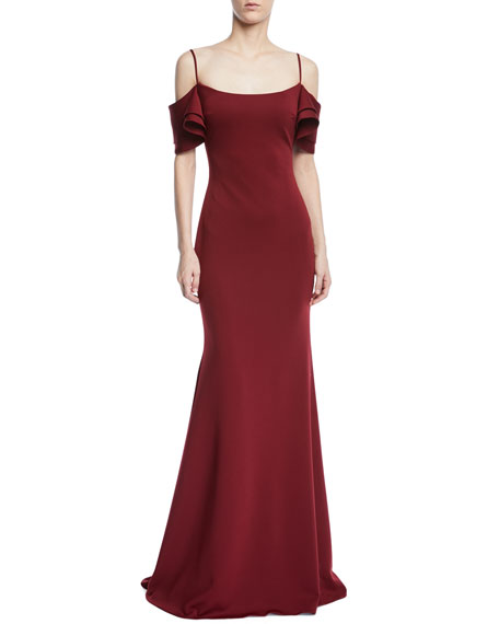 JOVANI Trumpet Gown W/ V-Back Ruffle Overlay in Dark Red