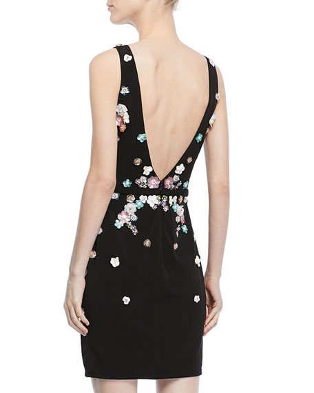 Embellished V-Back Sleeveless Cocktail Dress