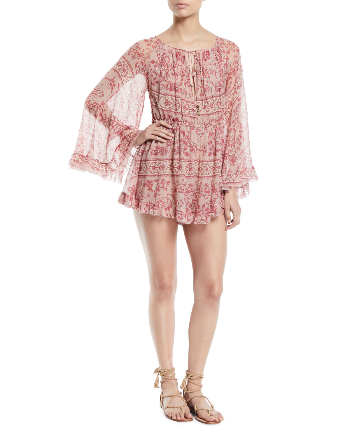 c8f4216144 Zimmermann Castile Flared-Sleeve Floral-Print Playsuit