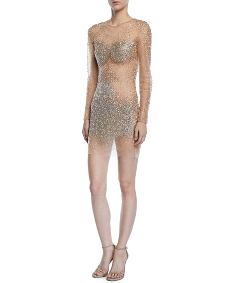 Jovani Fully Beaded Long-Sleeve Illusion Mini Cocktail Dress