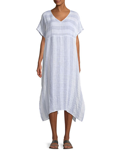 Gauze Striped Organic Linen V-Neck Dress