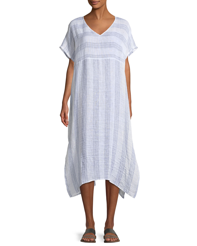 514dafcffe Eileen Fisher Gauze Striped Organic Linen V-Neck Dress
