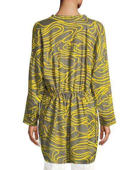 Gizanna Ribbons-Pattern V-Neck Tunic