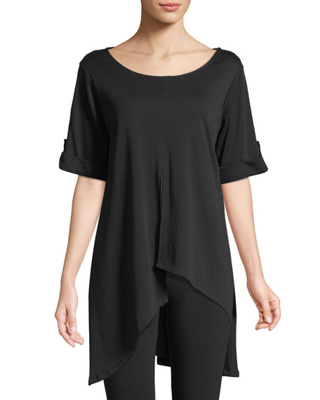 Short-Sleeve Artistic Cotton Tunic, Plus Size