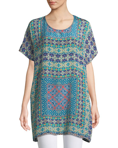 Tiffany Printed Silk Tunic w/ Keyhole Back, Plus Size