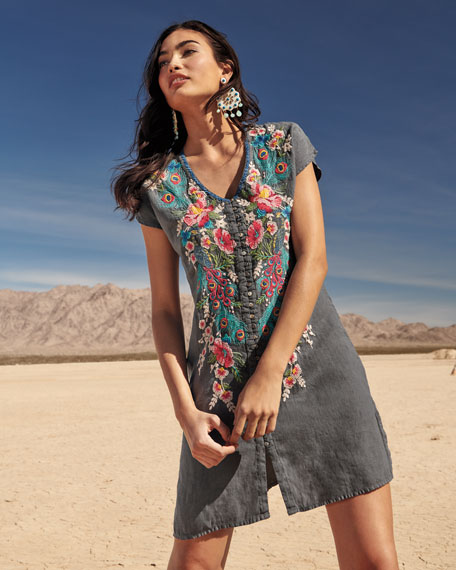 Vernazza Embroidered Tunic Dress, Plus Size