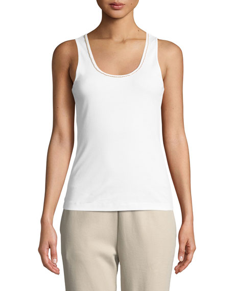 Joan Vass Golden-Chain Sleeveless Cotton Tank Top, Plus