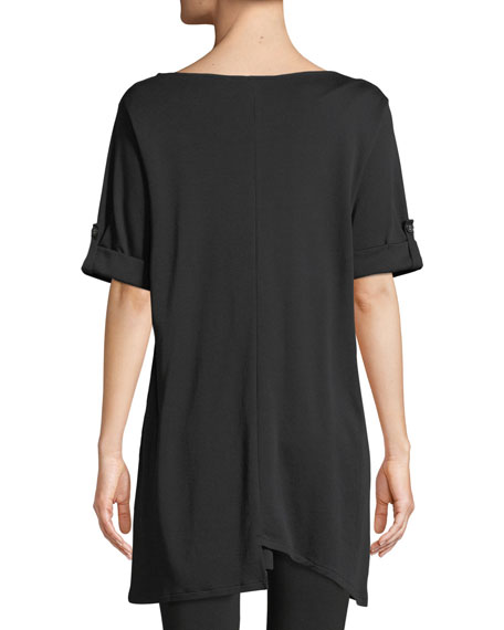 Short-Sleeve Artistic Cotton Tunic, Petite