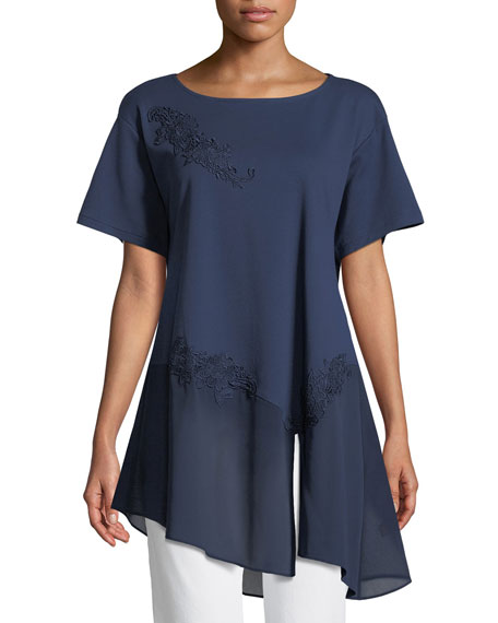 Chiffon-Trim Floral-Appliqué Tunic, Plus Size