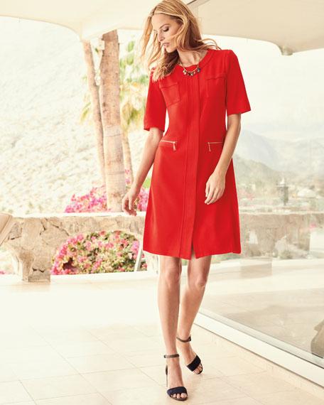 Zip-Front Short-Sleeve Shirtdress, Petite