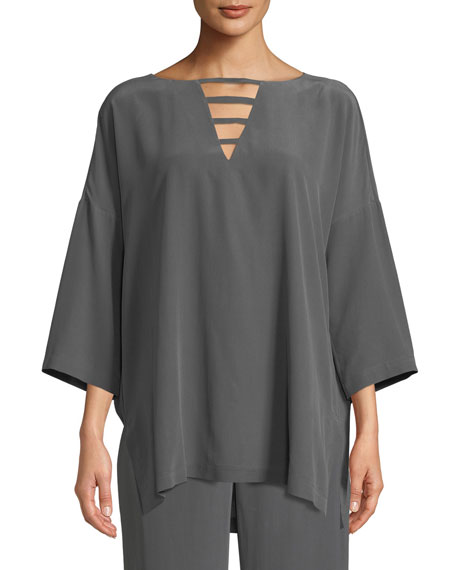 Silk Crepe Open-Detail Top