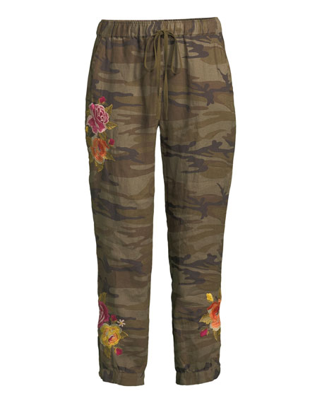 Vella Embroidered Linen Jogger Pants, Petite