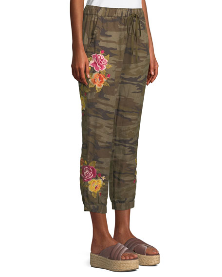 Vella Embroidered Linen Jogger Pants, Plus Size