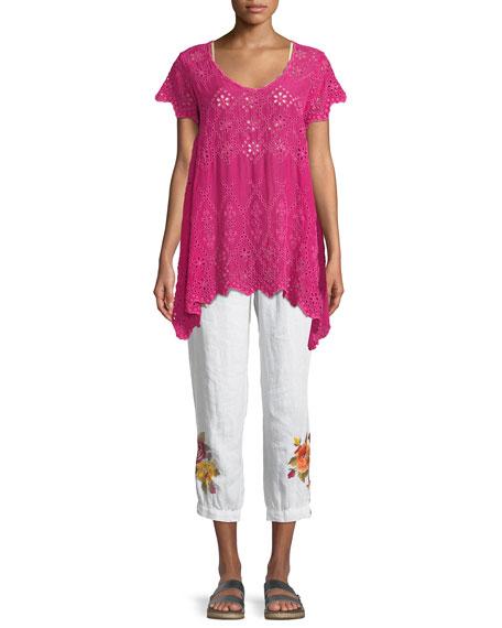 Vella Embroidered Linen Jogger Pants, Plus Size